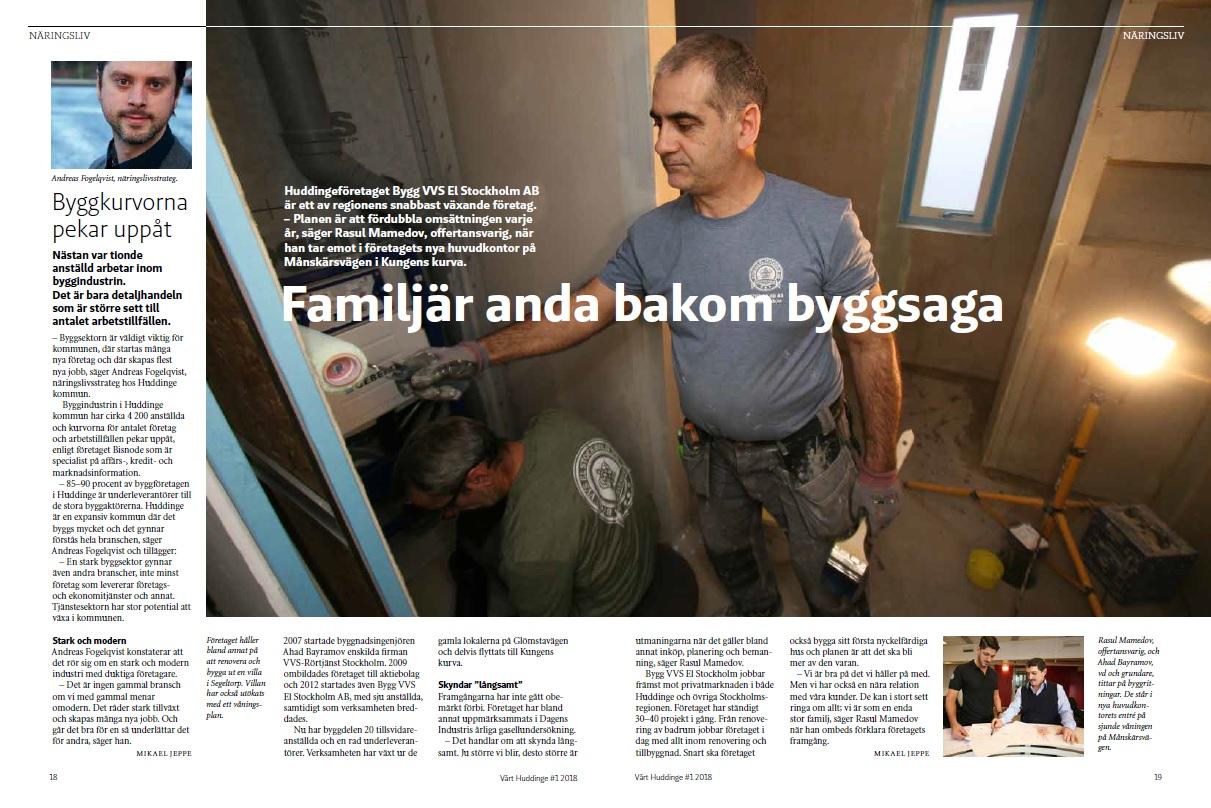 Artikel om Bygg Vvs El Stockholm AB i Vårt Huddinge